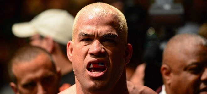 Jul. 7, 2012; Las Vegas, NV, USA; UFC fighter Tito Ortiz reacts during a light heavyweight bout in UFC 148 at the MGM Grand Garden Arena. Mandatory Credit: Mark J. Rebilas-USA TODAY Sports