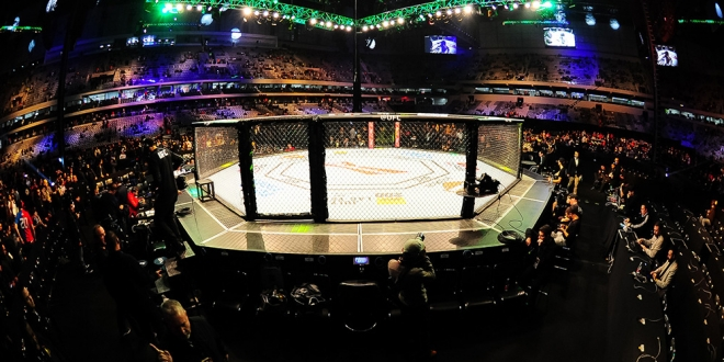 May 14, 2016; Curitiba, PR, Brazil; A view of the octagon ring before UFC 198 at Arena Atletico Paranaense. Mandatory Credit: Jason Silva-USA TODAY Sports