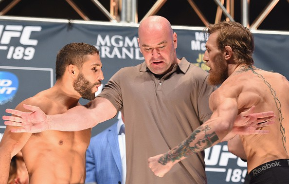 LAS VEGAS, NV - JULY 10: (L-R) Chad Mendes and Conor McGregor face off during the UFC 189 weigh-in inside MGM Grand Garden Arena on July 10, 2015 in Las Vegas, Nevada. (Photo by Josh Hedges/Zuffa LLC/Zuffa LLC via Getty Images)