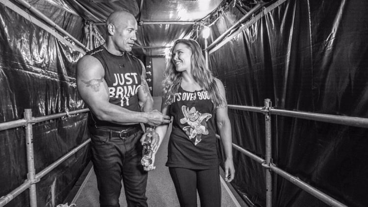 Photo-of-The-Rock-and-Ronda-Rousey-Backstage-at-WrestleMania-31