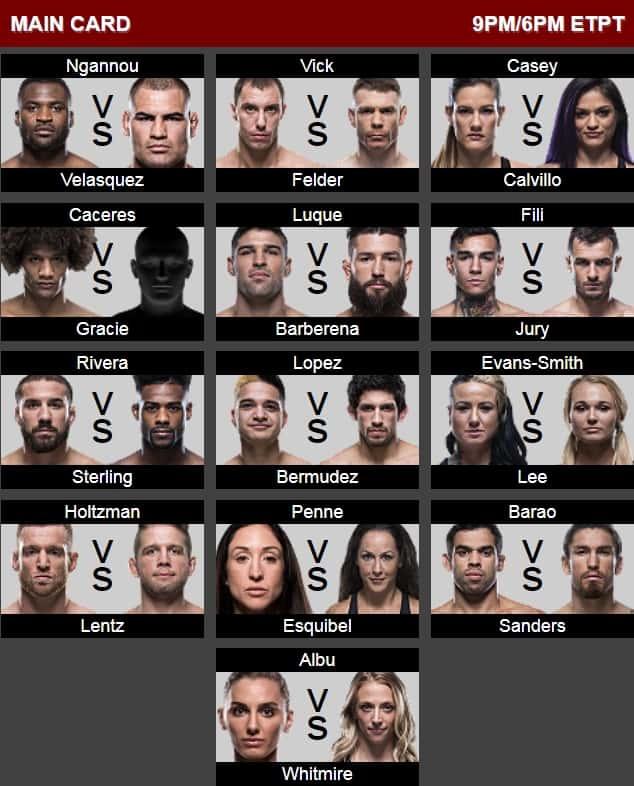 кард UFC 234 UFC on ESPN 1