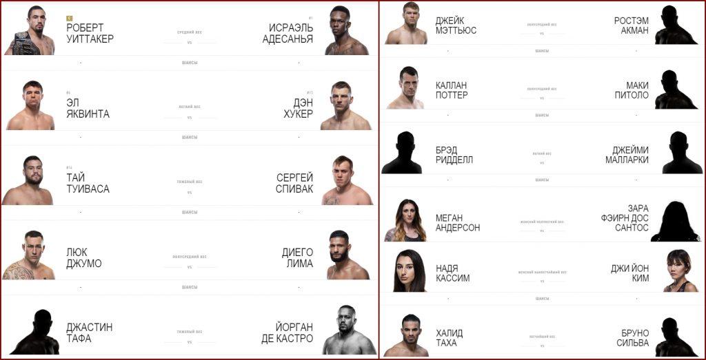 UFC 243 кард