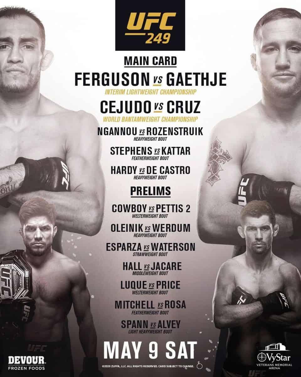 где смотреть UFC 249
